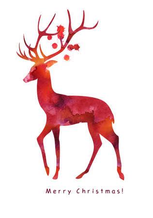 Christmas watercolor card in vector