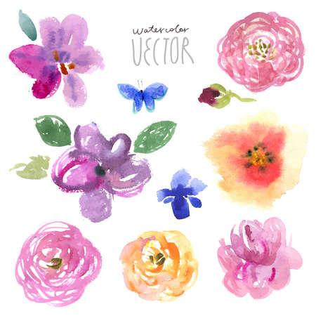 花の背景、水彩画ベクトル