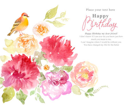 Watercolor background with beautiful flowers, holiday congratulatory card, with sample text Stok Fotoğraf - 33809101