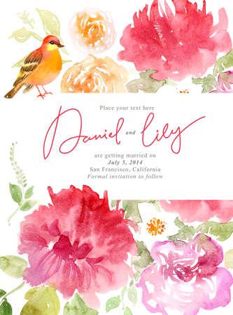 샘플 텍스트와 아름 다운 꽃, 휴가 축 카드와 수채화 배경