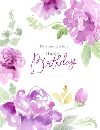 purple rose: Watercolor background with beautiful flowers, holiday congratulatory card, with sample text