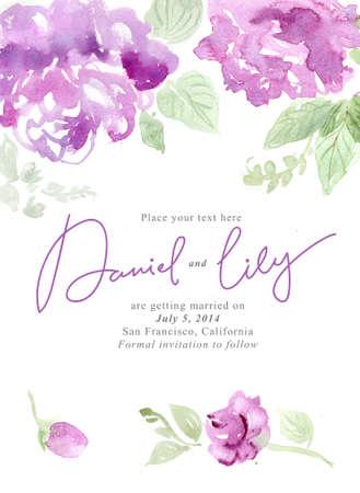 Aquarel achtergrond met mooie bloemen, vakantie felicitatie-kaart, met voorbeeld tekst