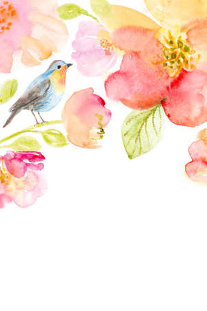 Watercolor background with beautiful flowers, holiday congratulatory card 스톡 콘텐츠