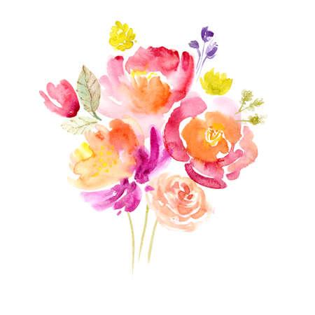 Aquarel achtergrond met mooie bloemen, vakantie felicitatiekaart Stockfoto