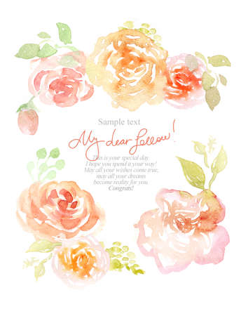 Watercolor background with beautiful flowers, holiday congratulatory card Standard-Bild