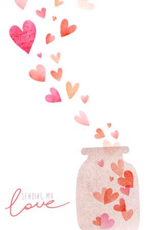 Aquarel leuke romantische kaart Stockfoto