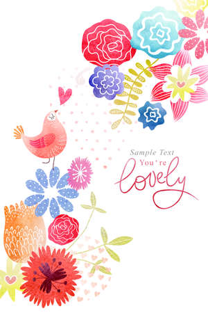 水彩画の花とグリーティング カード 写真素材