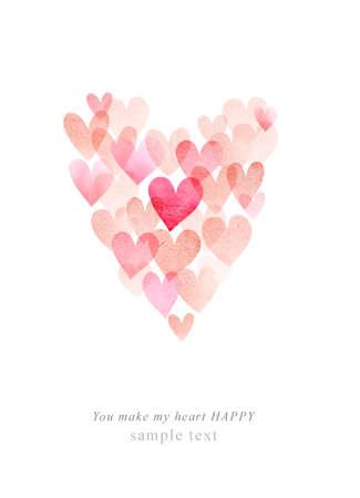 Watercolor cute romantic card Stock fotó