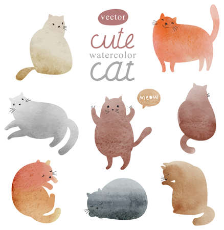 animal silhouette: Cute watercolor cat in vector