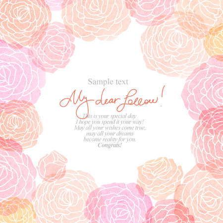 wedding wishes: Greeting card with watercolor flowers