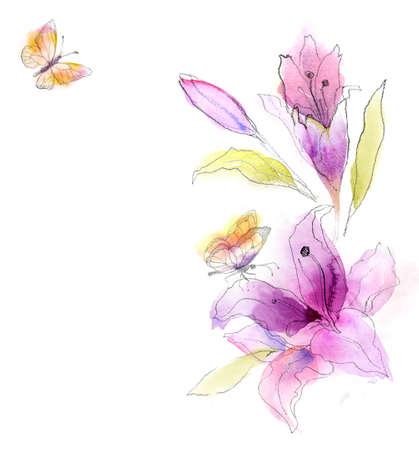 花の水彩スケッチ