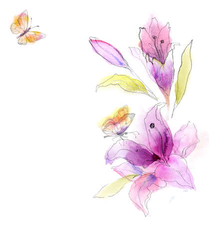 꽃 수채화 스케치