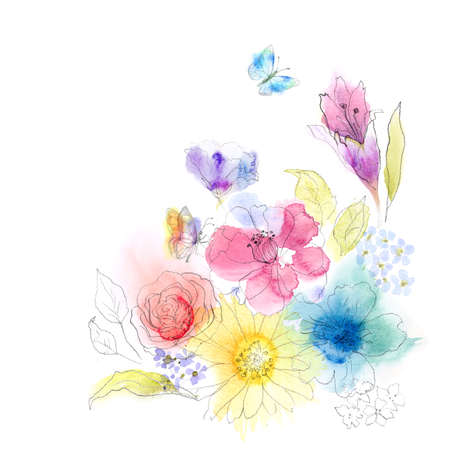 etude: Floral watercolor sketch