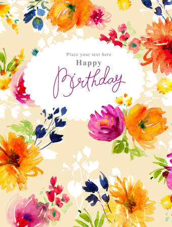 painted image: Watercolor flowers card Stock Photo