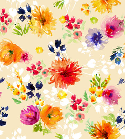 Watercolor  flowers card seamless pattern