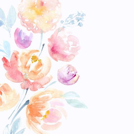 Watercolor flowers card Stock Photo