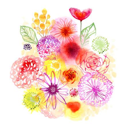 Watercolor flowers card Standard-Bild
