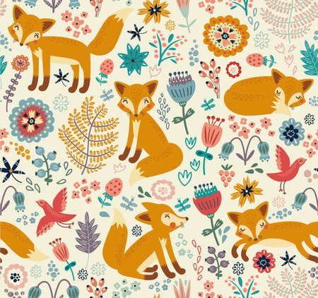 Seamless pattern with fox Illustration