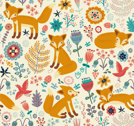 Seamless pattern with fox Illustration