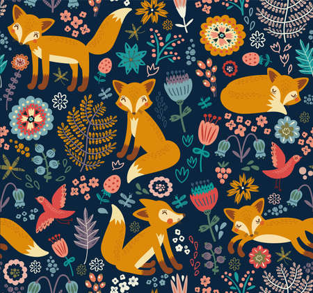 Seamless pattern with fox Çizim