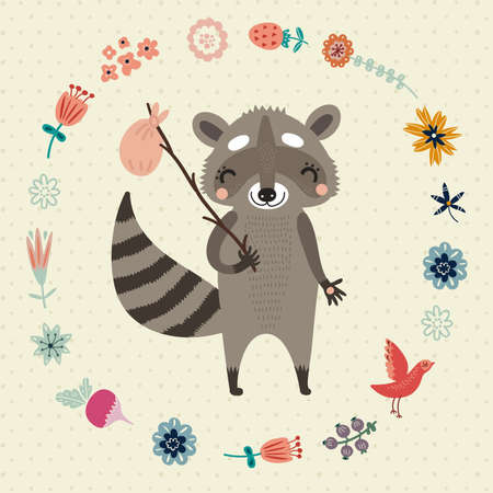 Cute raccoon Ilustrace
