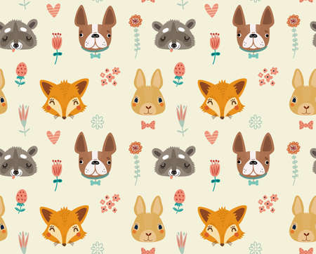 fox: Cute seamless pattern with animals and flowers Illustration