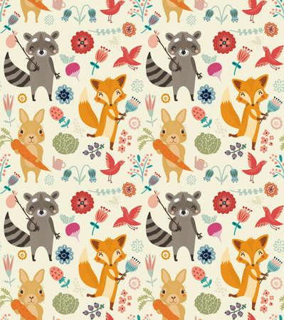 동물과 꽃과 귀여운 원활한 패턴 일러스트