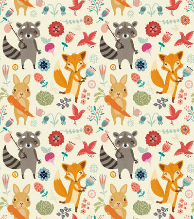 Cute seamless pattern with animals and flowers Çizim