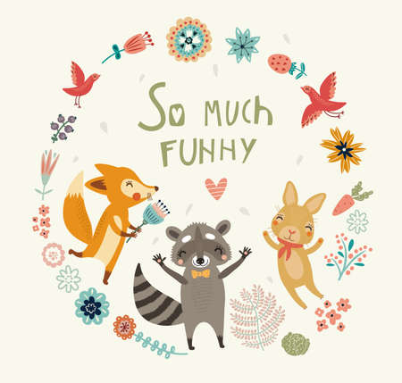 frendship: Cute animals background