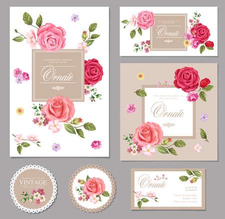 rosas rosadas: Conjunto de tarjeta de Flores