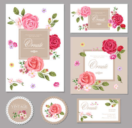 rose butterfly: Flowers card set