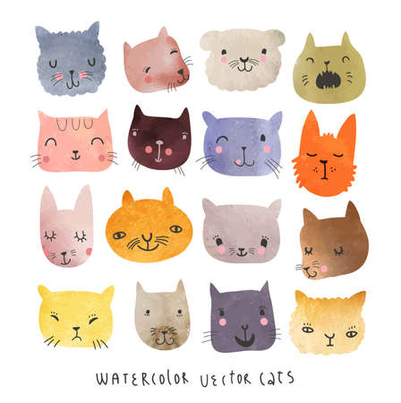 crazy cute: Watercolor cats set in vector