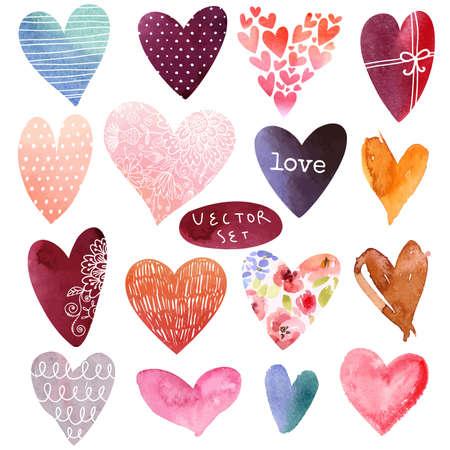 Watercolor heart set in vector