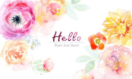 Watercolor flowers card Stockfoto