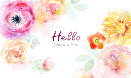 pastel: Watercolor flowers card Stock Photo