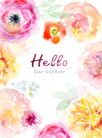 Watercolor flowers card Stok Fotoğraf