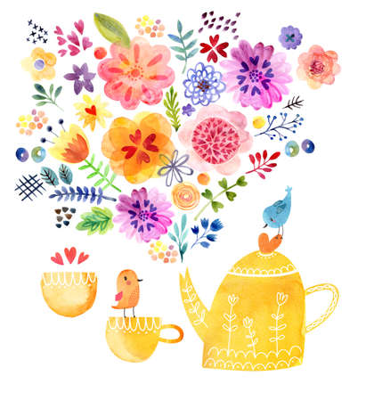 teaparty: Cute Watercolor Background