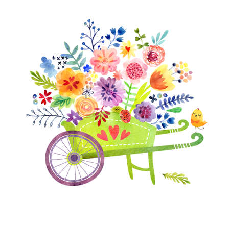wheelbarrow: Cute Watercolor Background