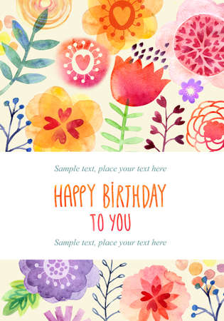colorful flowers: Watercolor card Stock Photo