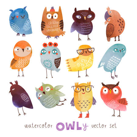 Watercolor vector set. Funny owls Çizim