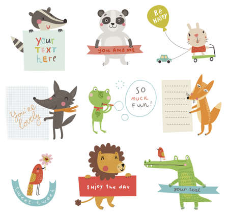 zwierzaki: Śliczne zestaw Ilustracja