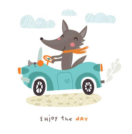 cartoon wind: Happy wolf