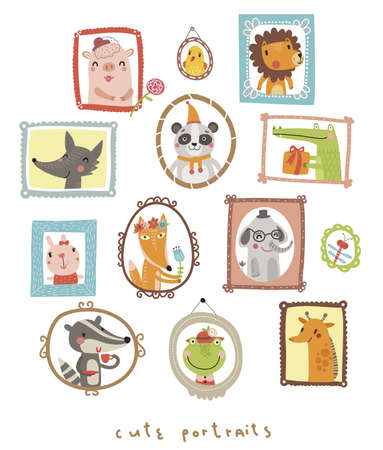 grunge frame: Animals portraits Illustration