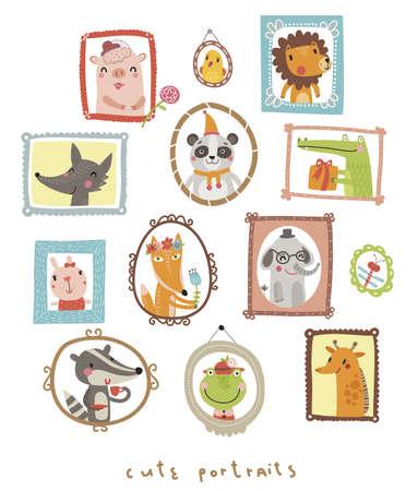 Animals portraits Illustration