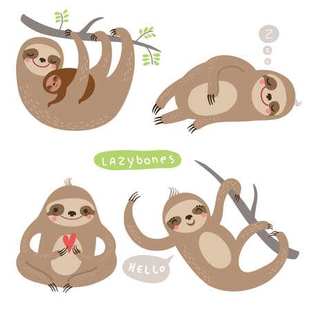 oso perezoso: Perezosos SET. divertido y lindo perezoso
