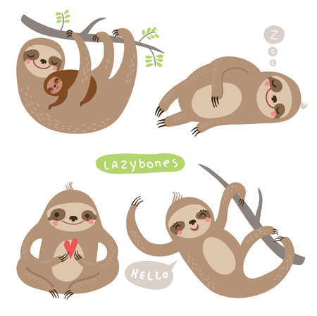 cute: Set sloths. funny and cute lazy