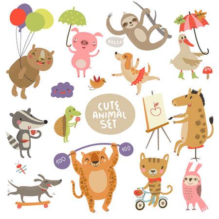 dierlijke set Stock Illustratie