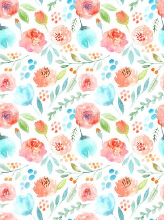 Watercolor flowers. Seamless pattern