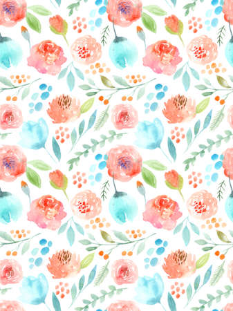 pink flower background: Watercolor flowers. Seamless pattern