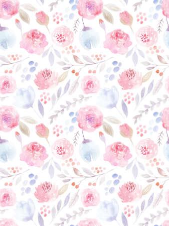 pink flowers: Watercolor flowers. Seamless pattern